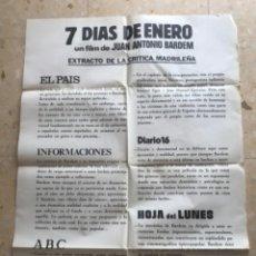 Cine: CARTEL DE CINE DE 7 DÍAS DE ENERO. JUAN ANTONIO BARDEM.. Lote 263662570