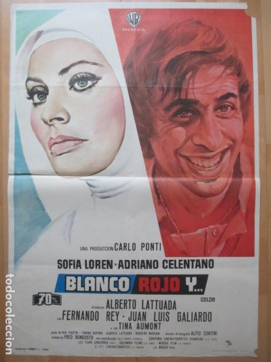 CARTEL CINE BLANCO ROJO Y ... SOFIA LOREN ADRIANO CELENTANO JANO 1972 C2068 (Cine- Posters y Carteles - Drama)