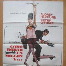 Cine: CARTEL CINE, COMO ROBAR UN MILLON Y..., AUDREY HEPBURN, PETER O`TOOLE, MAD, 1977, C1104. Lote 263683910