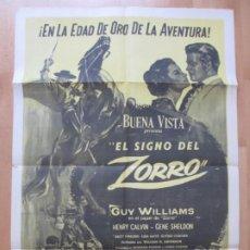 Cine: CARTEL CINE, EL SIGNO DEL ZORRO, GUY WILLIAMS, HENRY CALVIN, C1601. Lote 263688090