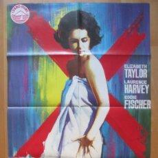 Cine: CARTEL CINE, LA MUJER MARCADA, ELIZABETH TAYLOR, LAURENCE HARVEY, JANO, 1972, C331. Lote 263697160