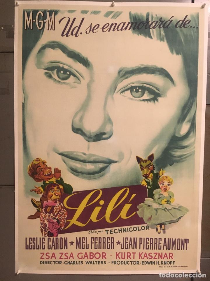 E2149 LILI LESLIE CARON POSTER ORIGINAL ESTRENO 70X100 LITOGRAFIA ENTELADO (Cine - Posters y Carteles - Musicales)