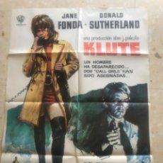 Cine: CARTEL DE CINE KLUTE, JANE FONDA, DONALD SUTHERLAND, 1972. Lote 263720680