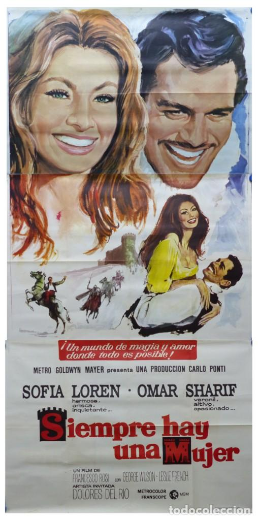 SIEMPRE HAY UNA MUJER - SOFIA LOREN, OMAR SHARIF - AÑO 1968 - CARTEL GRANDE EN TRES PIEZAS (Cine - Posters y Carteles - Aventura)