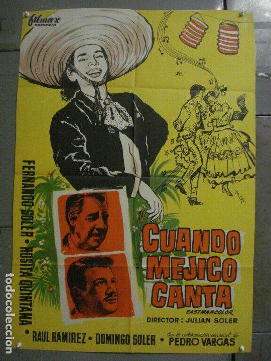 AAX43 CUANDO MEJICO CANTA ROSITA QUINTANA FERNANDO SOLER POSTER ORIGINAL 70X100 ESTRENO LITOGRAFIA (Cine - Posters y Carteles - Musicales)