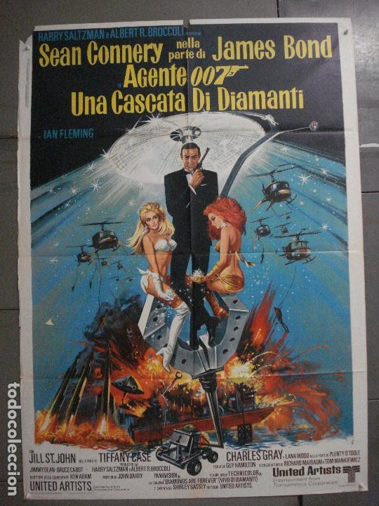 AAX60 DIAMANTES PARA LA ETERNIDAD JAMES BOND 007 SEAN CONNERY POSTER ORIGINAL 100X140 ITALIANO (Cine - Posters y Carteles - Acción)