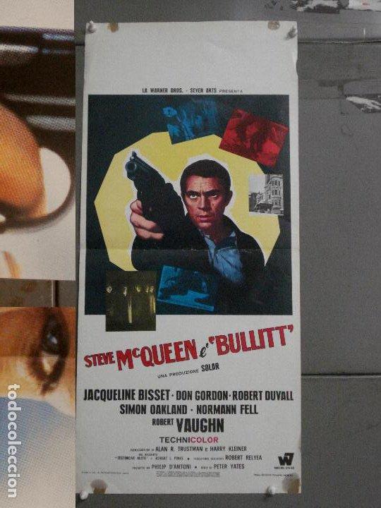 AAX79 BULLITT STEVE MCQUEEN POSTER ORIGINAL ITALIANO 33X70 (Cine - Posters y Carteles - Acción)