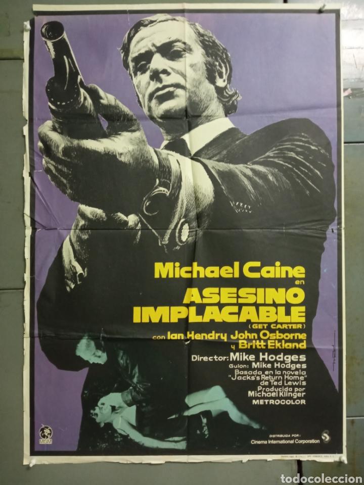 AAY19 ASESINO IMPLACABLE GET CARTER MICHAEL CAINE MAC POSTER ORIGINAL 70X100 ESTRENO (Cine - Posters y Carteles - Acción)