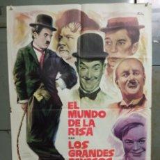Cine: AAX83 EL MUNDO DE LA RISA CHARLES CHAPLIN BUSTER KEATON LAUREL HARDY POSTER ORIG 70X100 ESTRENO. Lote 265472544