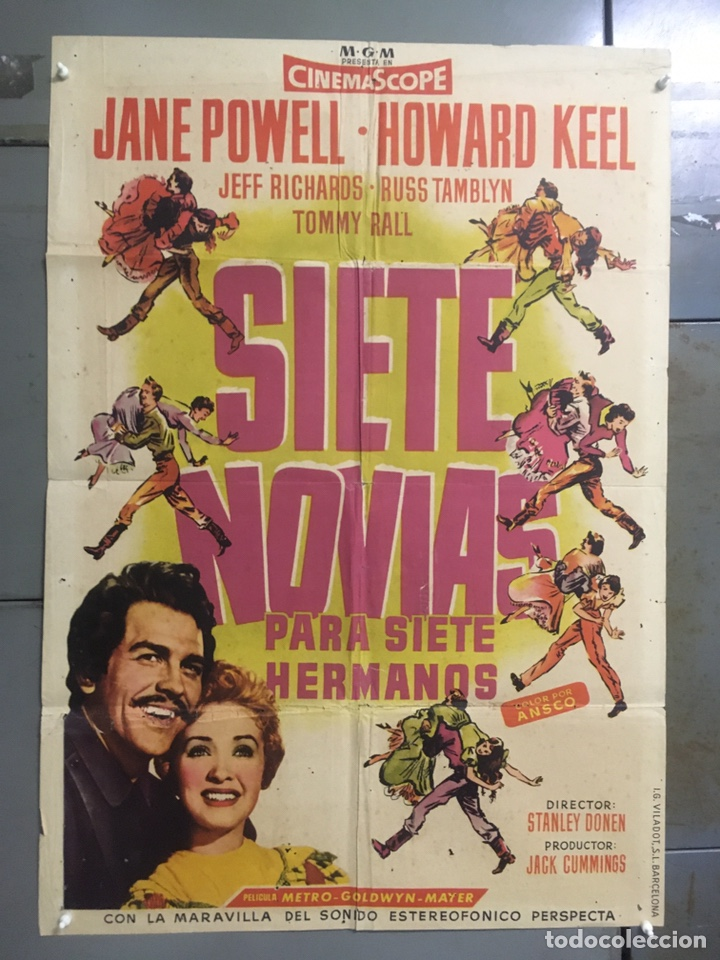 AAX88 SIETE NOVIAS PARA SIETE HERMANOS STANLEY DONEN CINEMASCOPE POSTER ORIGINAL 70X100 ESTRENO (Cine - Posters y Carteles - Musicales)