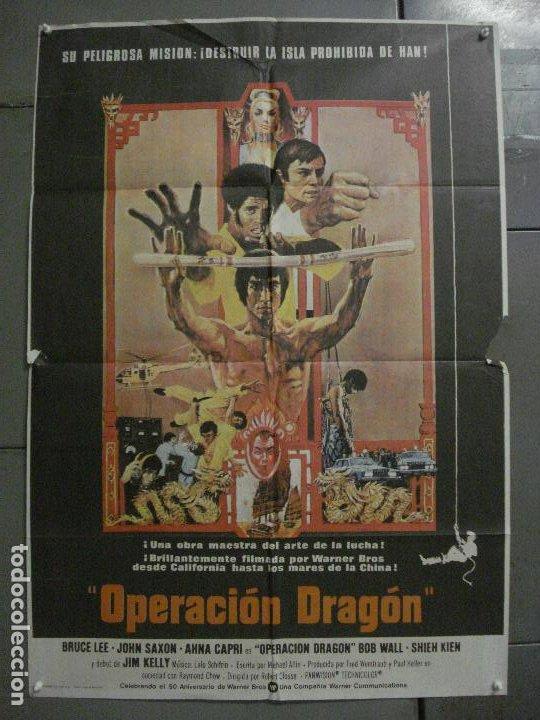 AAY33 OPERACION DRAGON BRUCE LEE BOB PEAK POSTER ORIGINAL 70X100 ESTRENO RARO (Cine - Posters y Carteles - Acción)