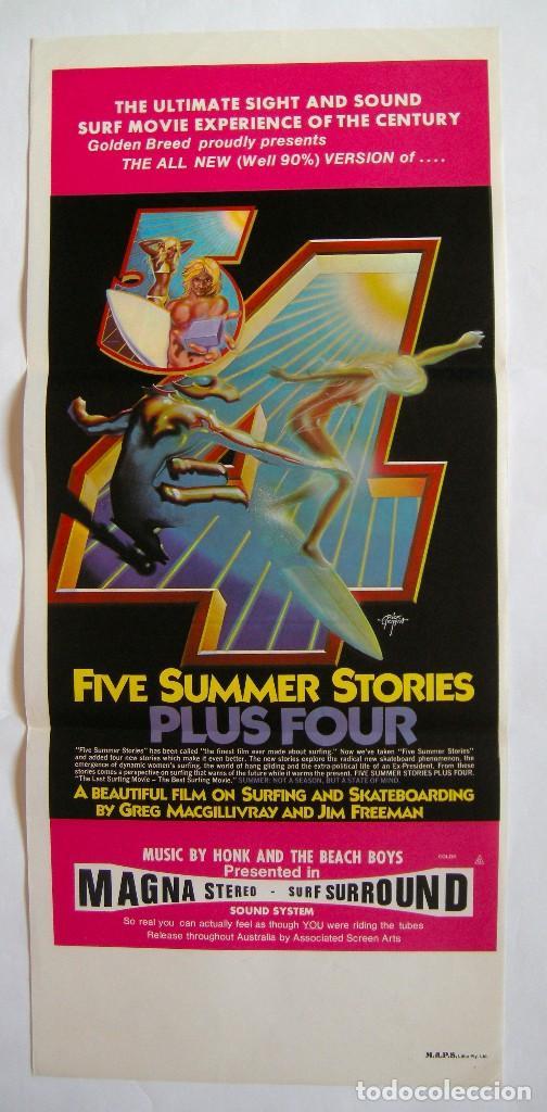 POSTER ORIGINAL AUSTRALIA / SURF / FIVE SUMMER STORIES PLUS FOUR / 1976 / 34X76 CM (Cine - Posters y Carteles - Documentales)