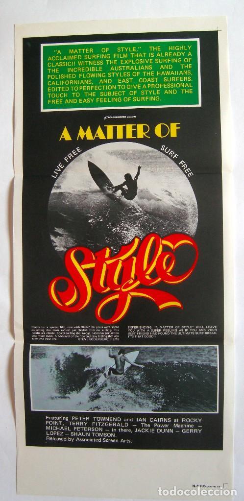 POSTER ORIGINAL AUSTRALIA / SURF / MATTER OF STYLE / 1976 / 34X76 CM (Cine - Posters y Carteles - Documentales)