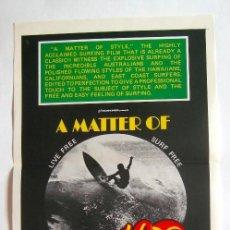 Cine: POSTER ORIGINAL AUSTRALIA / SURF / MATTER OF STYLE / 1976 / 34X76 CM. Lote 217444086