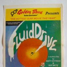 Cine: POSTER ORIGINAL AUSTRALIA / SURF / FLUID DRIVE / R1976 / 34X76 CM. Lote 217455948