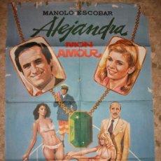 Cine: ALEJANDRA MONN AMOUR 1979 MANOLO ESCOBAR SAZA PELELE CARTEL DE CINE 100 X 70 CM. POSTER ESPAÑA. Lote 223257378