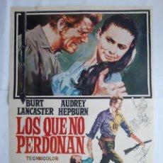 Cine: ANTIGUO CARTEL CINE LOS QUE NO PERDONAN BURT LANCASTER AUDREY HEPBURN 1971 JANO RV P81. Lote 267137884