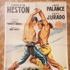 Cine: HOGUERA DE ODIOS - CHARLTON HESTON, JACK PALANCE - POSTER ORIGINAL 70X100 ESTRENO. Lote 267138499