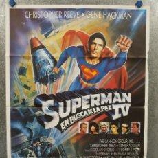 Cine: SUPERMAN IV: EN BUSCA DE LA PAZ. CHRISTOPHER REEVE, GENE HACKMAN POSTER ORIGINAL. Lote 267758969