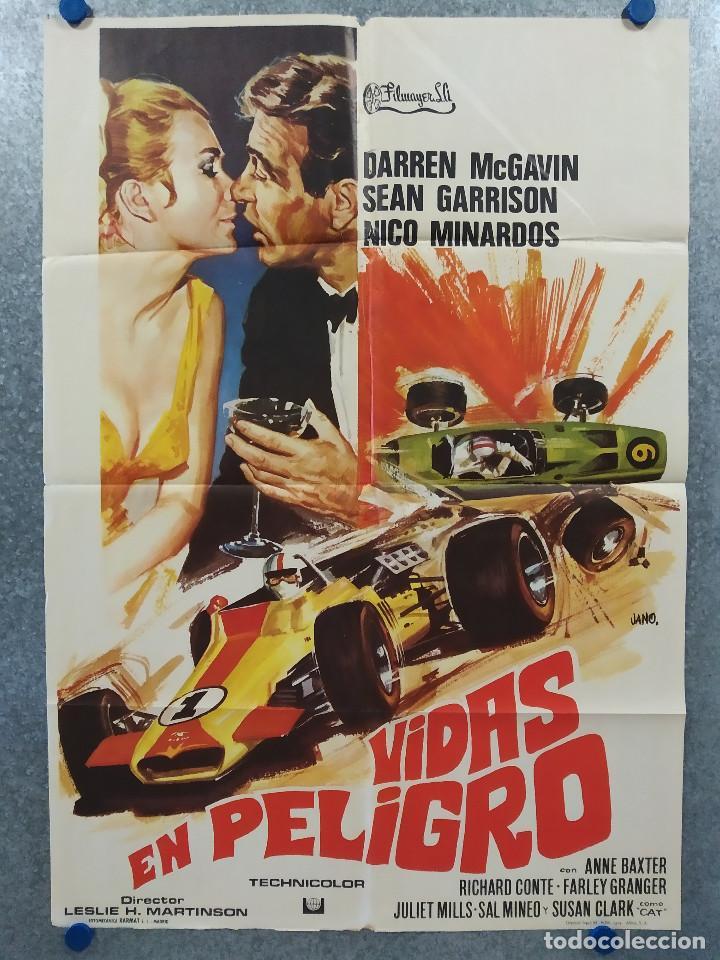 VIDAS EN PELIGRO. DARREN MCGAVIN, SEAN GARRISON. AUTOMOVILISMO. AÑO 1974. POSTER ORIGINAL (Cine - Posters y Carteles - Deportes)