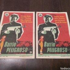Cine: PROGRAMACIÓN CINE BARRIO PELIGROSO 1958. Lote 267910489