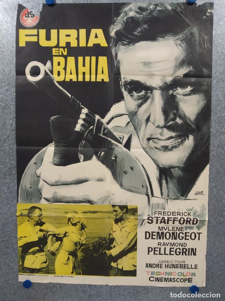 FURIA EN BAHÍA. FREDERICK STAFFORD, MYLÉNE DEMONGEOT AÑO 1965. POSTER ORIGINAL (Cine - Posters y Carteles - Acción)