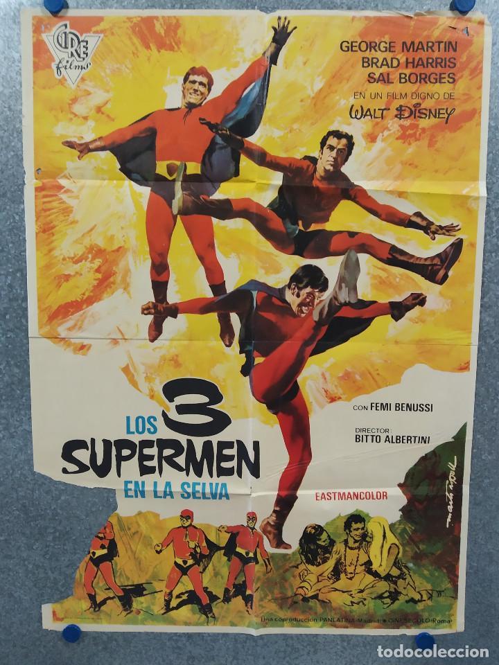 LOS 3 SUPERMEN EN LA SELVA. GEORGE MARTIN, SALVATORE BORGHESE. POSTER ORIGINAL (Cine - Posters y Carteles - Acción)