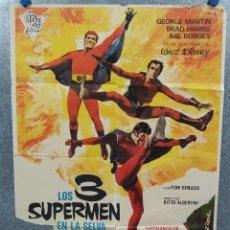 Cine: LOS 3 SUPERMEN EN LA SELVA. GEORGE MARTIN, SALVATORE BORGHESE. POSTER ORIGINAL. Lote 268570809