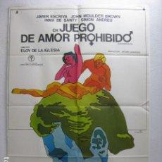 Cine: JUEGOS DE AMOR PROHIBIDO - POSTER CARTEL ORIGINAL - ELOY DE LA IGLESIA SIMON ANDREU J ESCRIVA - L. Lote 268732159