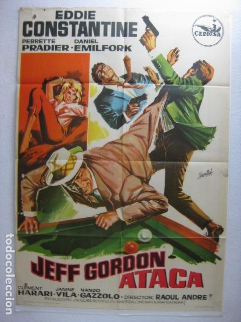 JEFF GORDON ATACA - POSTER CARTEL ORIGINAL - DES FRISSONS PARTOUT EDDIE CONSTANTINE - HERMIDA - L (Cine - Posters y Carteles - Acción)
