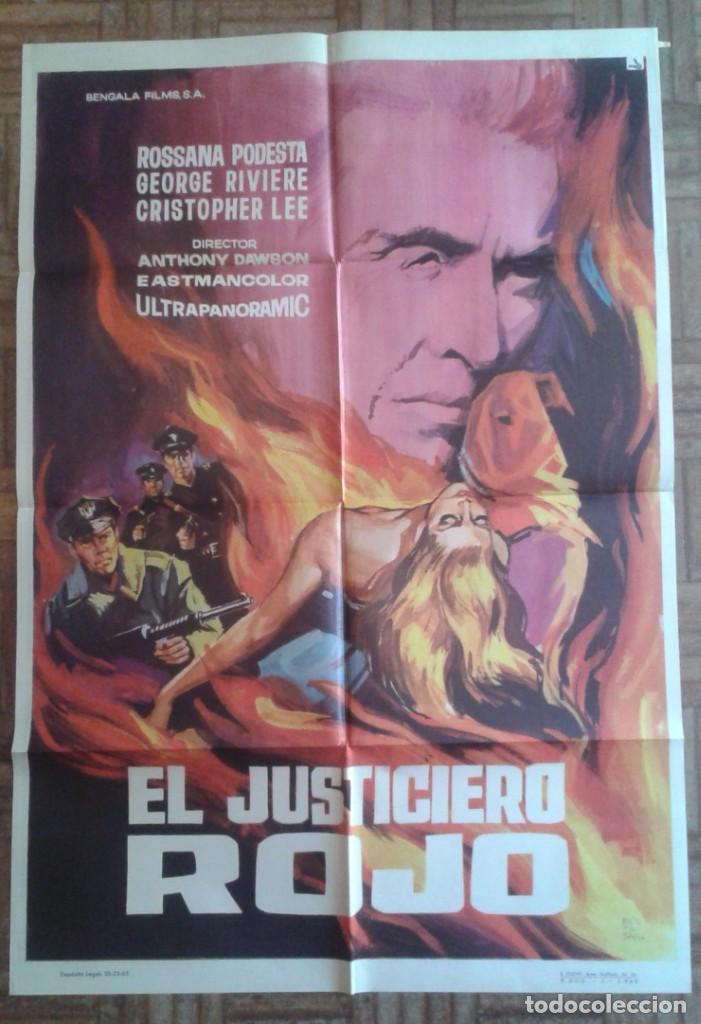 EL JUSTICIERO ROJO. CARTEL ESTRENO. CHRISTOPHER LEE, ROSSANA PODESTA (Cine - Posters y Carteles - Suspense)