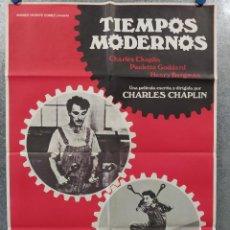 Cine: TIEMPOS MODERNOS. CHARLES CHAPLIN. AÑO 1983. POSTER ORIGINAL. Lote 268975394