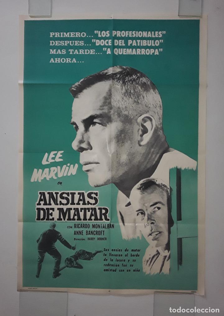 CARTEL ORIGINAL ANSIAS DE MATAR. RICARDO MONTALBAN, ANN BANCROFT, LEE MARVIN 75 X 110 (Cine - Posters y Carteles - Acción)