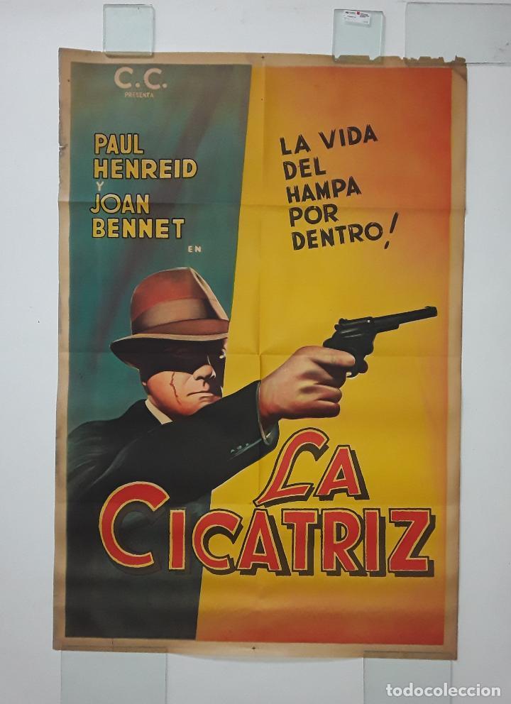 LA CICATRIZ CARTEL LITOGRAFICO ORIGINAL 1948 - FILM NOIR PAUL HENREID MUY RARO HOLLOW TRIUMPH (Cine - Posters y Carteles - Suspense)