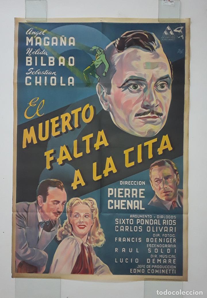 EL MUERTO FALTA A LA CITA CARTEL ORIGINAL LITOGRAFICO ANGEL MAGAÑA - RAF RARO - PIERRE CHENAL (Cine - Posters y Carteles - Acción)