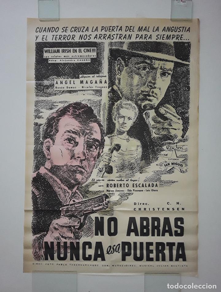 CARTEL ORIGINAL LITOGRAFICO NO ABRAS NUNCA ESA PUERTA 75X110 OSVALDO VENTURI CORNELL WOOLRICH (Cine - Posters y Carteles - Suspense)