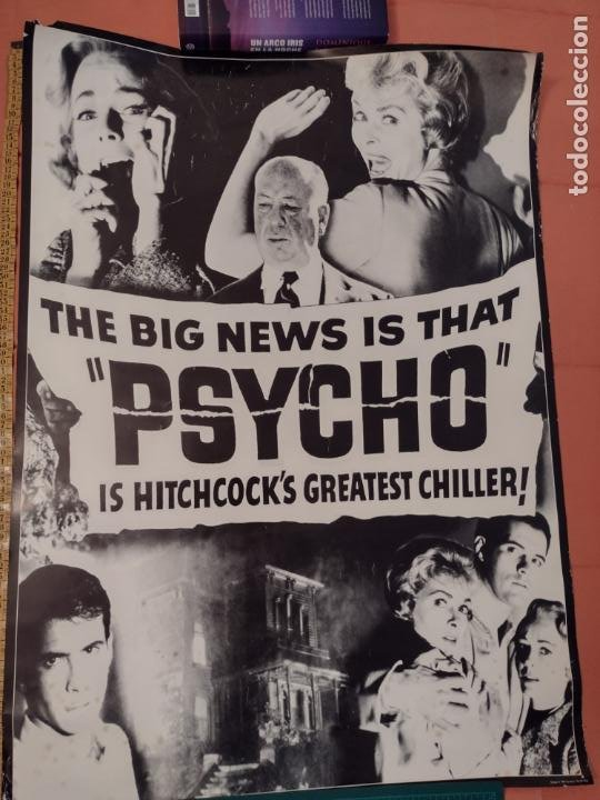POSTER PSICOSIS-THE BIG NEWS IS THAT PSYCHO IS HITCHCOCK´S GREATEST CHILLER! - 88X62 CMS (Cine - Posters y Carteles - Terror)