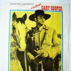 Cine: EL FORASTERO, CON GARY COOPER. POSTER 69,5 X 99,5. AÑO: 1974.. Lote 271433498
