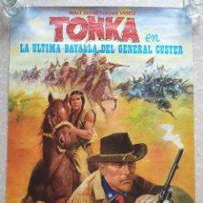 Cine: CARTEL PELÍCULA WALT DISNEY TONKA EN LA ÚLTIMA BATALLA DEL GENERAL CUSTER FILMAYER VIDEO 68 X 48 CM.. Lote 271519663