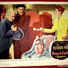 Cine: CARTEL COLUMBIA DOWN TO EARTH RITA HAYWORTH 1947 MEDIDAS 27.60 CM X 35.40 CM. Lote 272279853