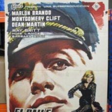 Cine: CARTEL ORIGINAL DE EPOCA - EL BAILE DE LOS MALDITOS - MARLON BRANDON - MONTGOMERY CLIFT - 100 X 70. Lote 275232878