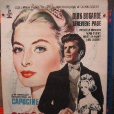 Cine: CARTEL ORIGINAL DE EPOCA - SUEÑO DE AMOR - DIRK BOGARDE - CAPUCINE - 100 X 70. Lote 275286068