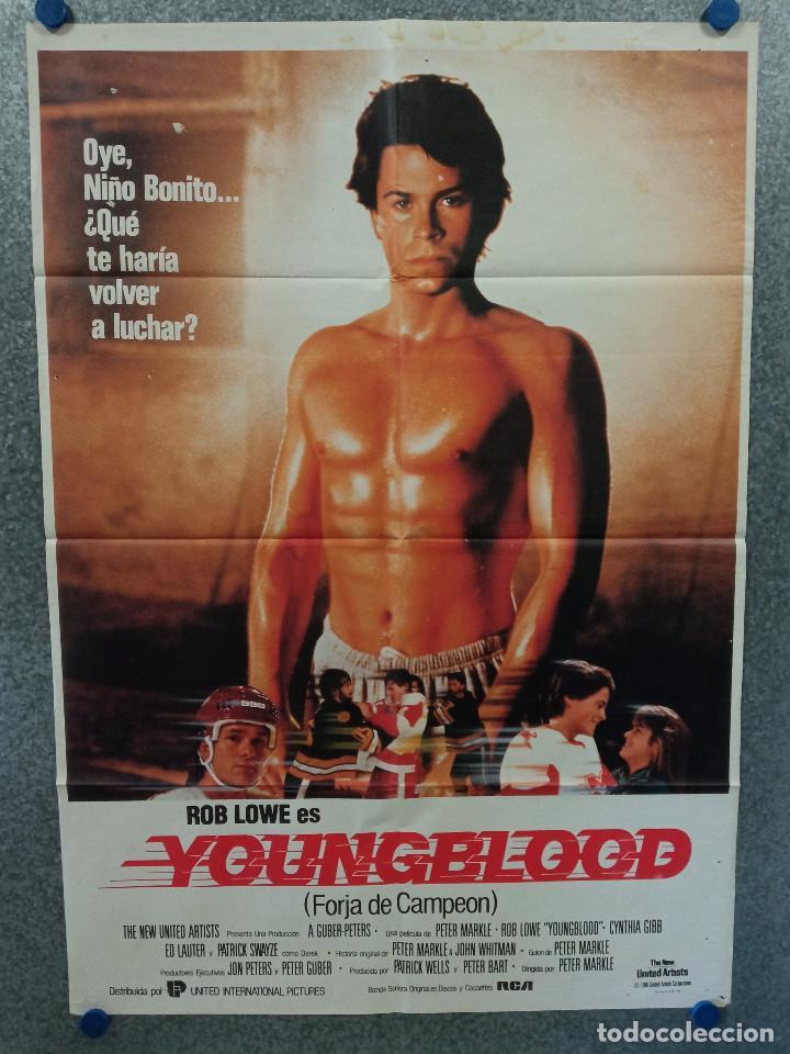 FORJA DE CAMPEÓN, YOUNGBLOOD. ROB LOWE, CYNTHIA GIBB, PATRICK SWAYZE. AÑO 1986. POSTER ORIGINAL (Cine - Posters y Carteles - Deportes)