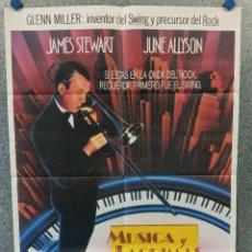 Cine: MÚSICA Y LÁGRIMAS. JAMES STEWART, JUNE ALLYSON AÑO 1985. VIDA DE GLEN MILLER. POSTER ORIGINAL. Lote 275537658