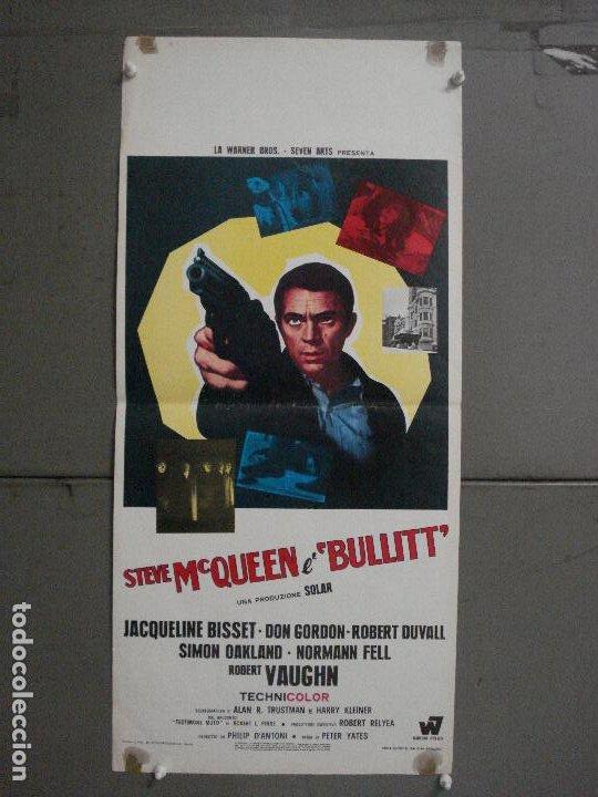 ABH29 BULLITT STEVE MCQUEEN POSTER ORIGINAL ITALIANO 33X70 (Cine - Posters y Carteles - Acción)