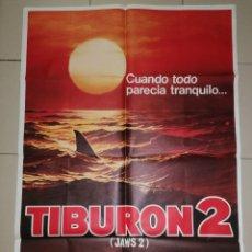 Cine: ANTIGUO CARTEL DE CINE, TIBURON 2. 100X70. Lote 276279453
