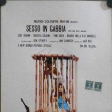 Cine: WP55D THE BIG DOLL HOUSE PAM GRIER BLAXPLOITATION POSTER ORIGINAL ITALIANO 33X70. Lote 276424503