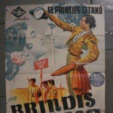 Cine: CDO L701 BRINDIS AL CIELO EL PRINCIPE GITANO TOROS POSTER ORIGINAL 70X100 ESTRENO LITOGRAFIA. Lote 276482513