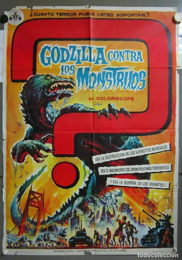 ZU91D GODZILLA CONTRA LOS MONSTRUOS ISHIRO HONDA SOLIGO POSTER ORIGINAL 70X100 ESTRENO (Cine - Posters y Carteles - Ciencia Ficción)