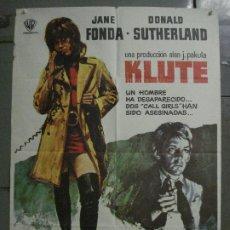 Cine: CDO L789 KLUTE JANE FONDA DONALD SUTHERLAND POSTER ORIGINAL 70X100 ESTRENO. Lote 276697788